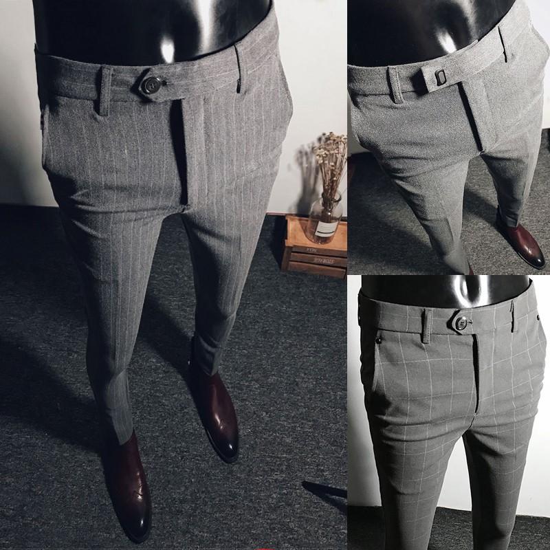 【KDEJ3】男士褲子韓版潮流夏季休閑商務西裝褲英倫條紋修身職業小腳西褲男