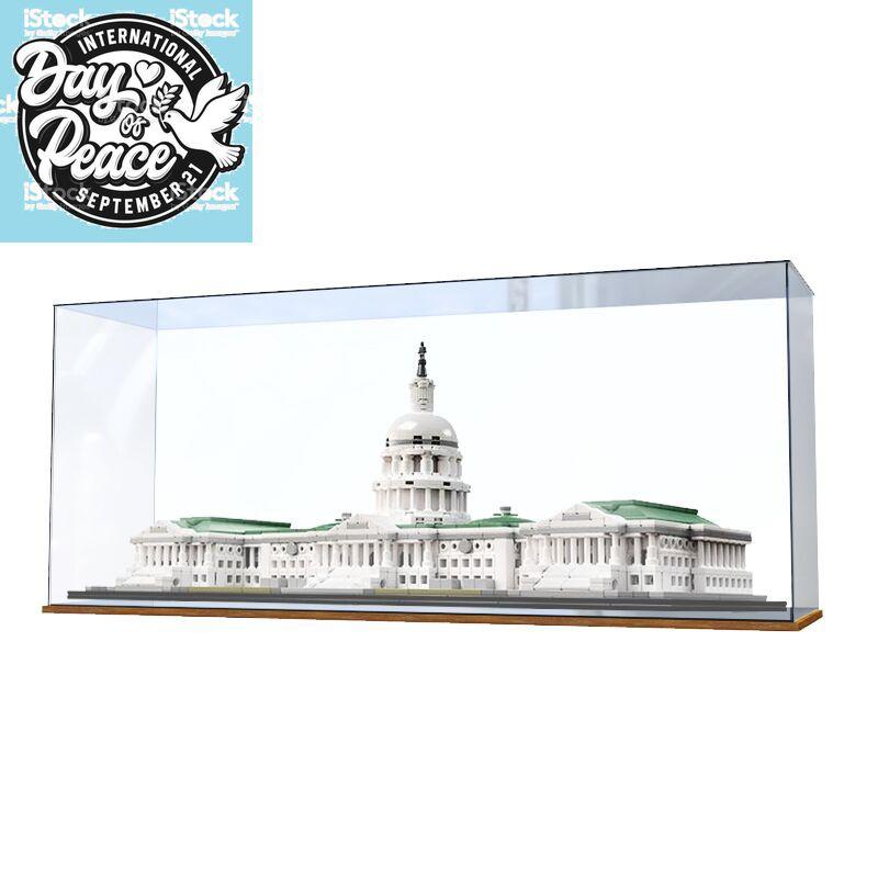 積木21030 美國國會大廈建筑高樂LEGO模型收納盒防塵罩