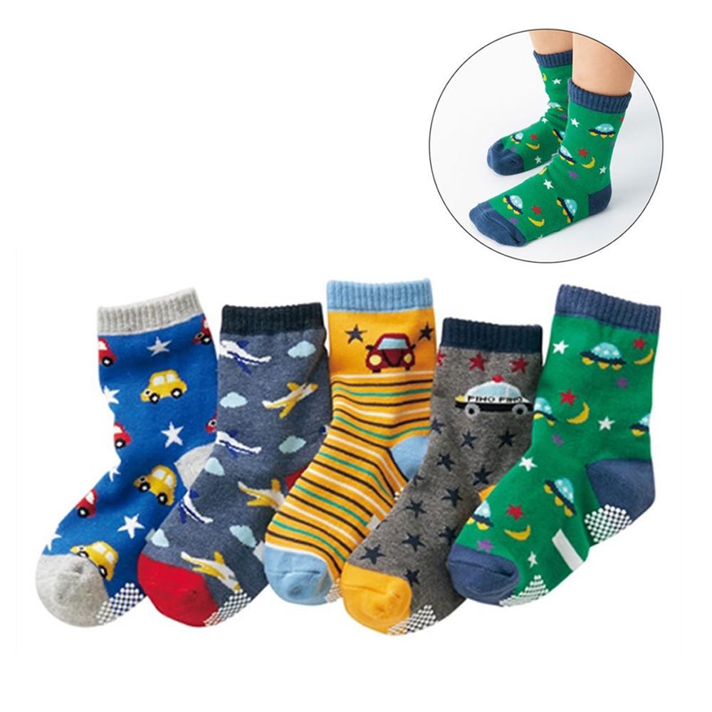 (5雙一組) 汽車星際防滑膠點中筒襪 中短襪 襪子 童襪 男童 中童 小童 兒童 【p0061223533384】