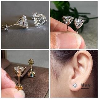Melodg 時尚 Martini 1ct 耳釘穿孔閃亮鋯石三爪耳環訂婚新女性男士珠寶禮物圓形鑽石
