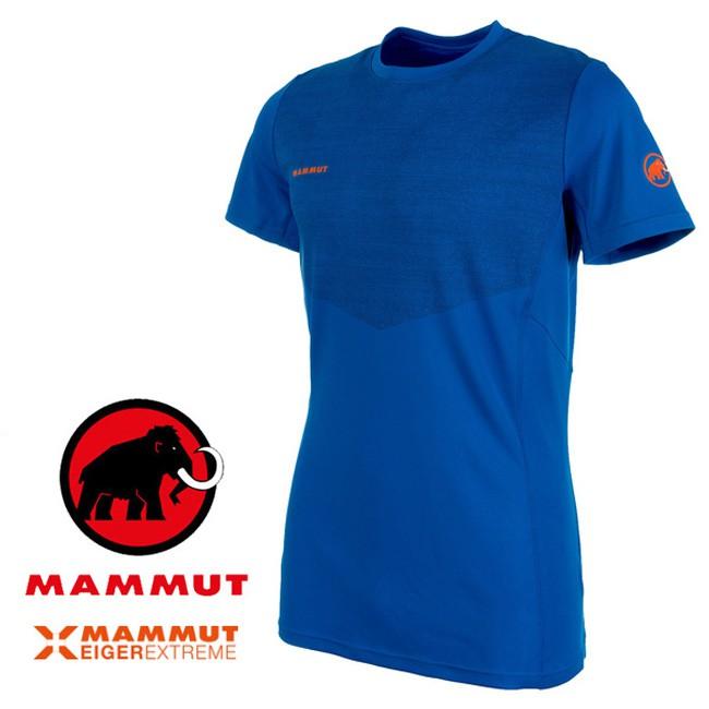 【Mammut 長毛象 瑞士】艾格Moench 短袖排汗衣 運動上衣 機能衣 男款 冰藍色 (00050-5072)