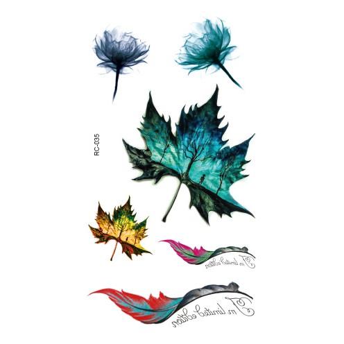 Chis Store FN【彩色個性刺青貼紙】韓國男女性感小清新原宿風 七彩 羽毛 英文字母 楓葉 星空 防水紋身貼紙