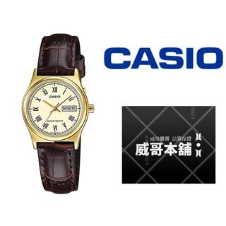 【威哥本舖】Casio台灣原廠公司貨 LTP-V006GL-9B 女皮款星期日期石英錶 LTP-V006GL 桃園市