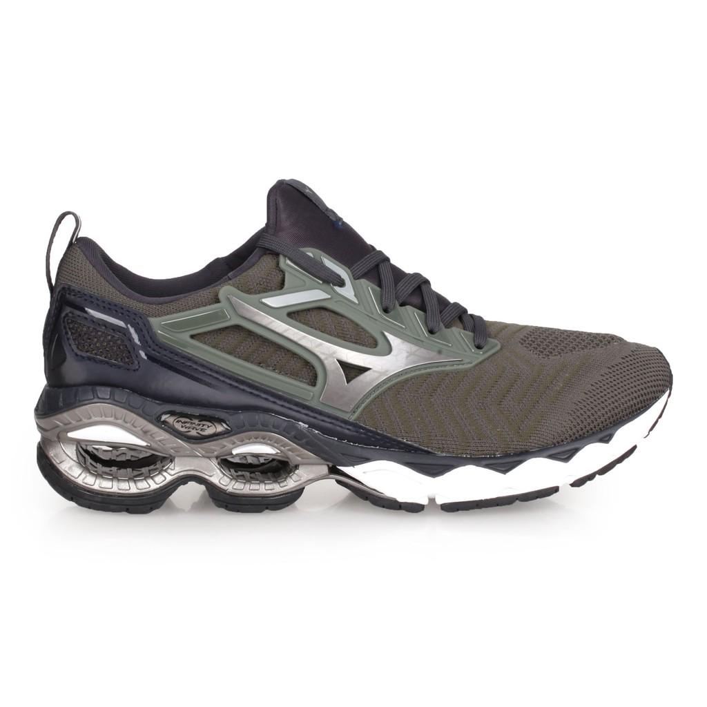 MIZUNO WAVE CREATION WAVEKNIT 男慢跑鞋( 美津濃 軍綠鐵灰 J1GC193358