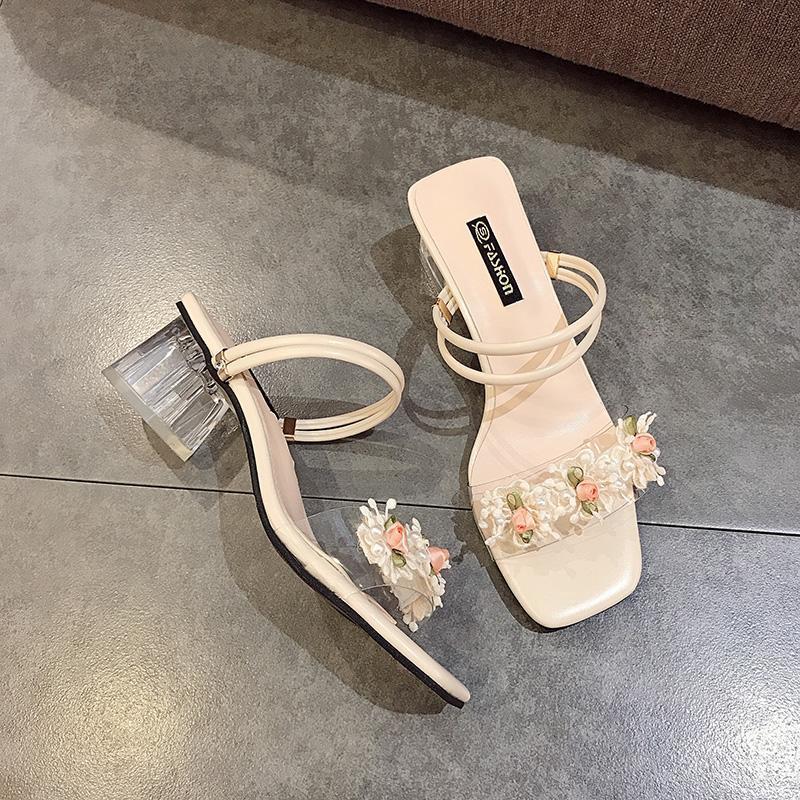 限時特價促銷夏季涼鞋女2020年新款仙女風外穿時裝花朵高跟一字兩穿粗跟涼拖鞋