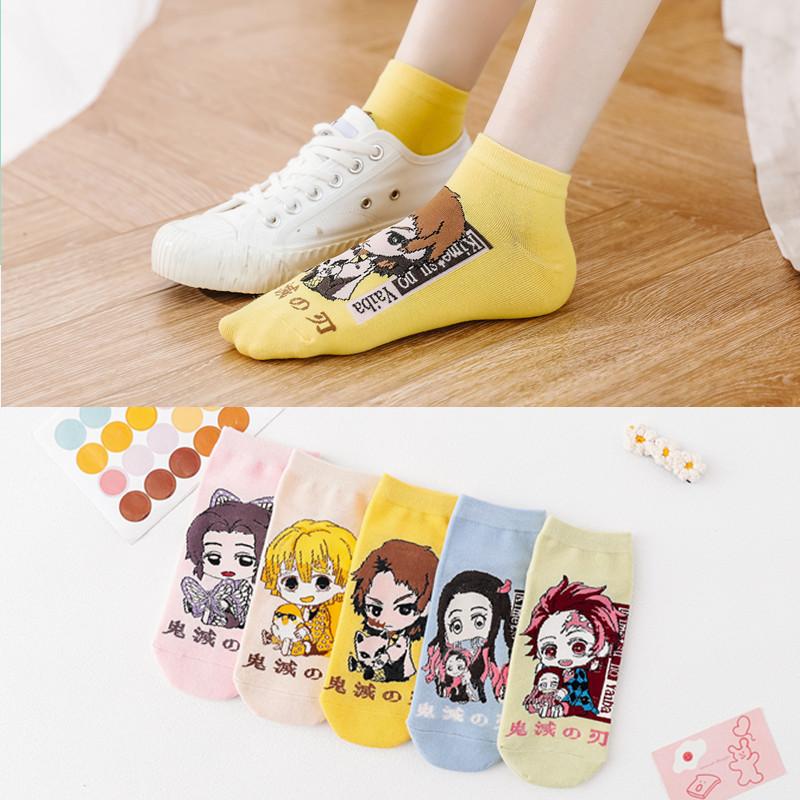 新款卡通襪子日系外貿潮短款船襪 鬼滅之刃襪子