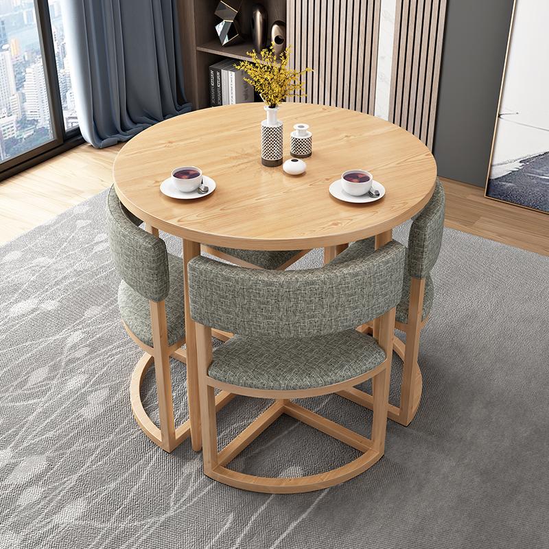 簡約接待桌椅組合洽談桌店鋪會客桌椅辦公室休閒小圓桌北歐收納