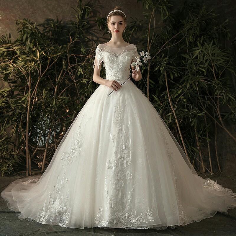 秋冬 時尚 白色 拖尾 婚紗 大碼 遮肚 顯瘦 蕾絲 新娘 結婚 晚禮服 女