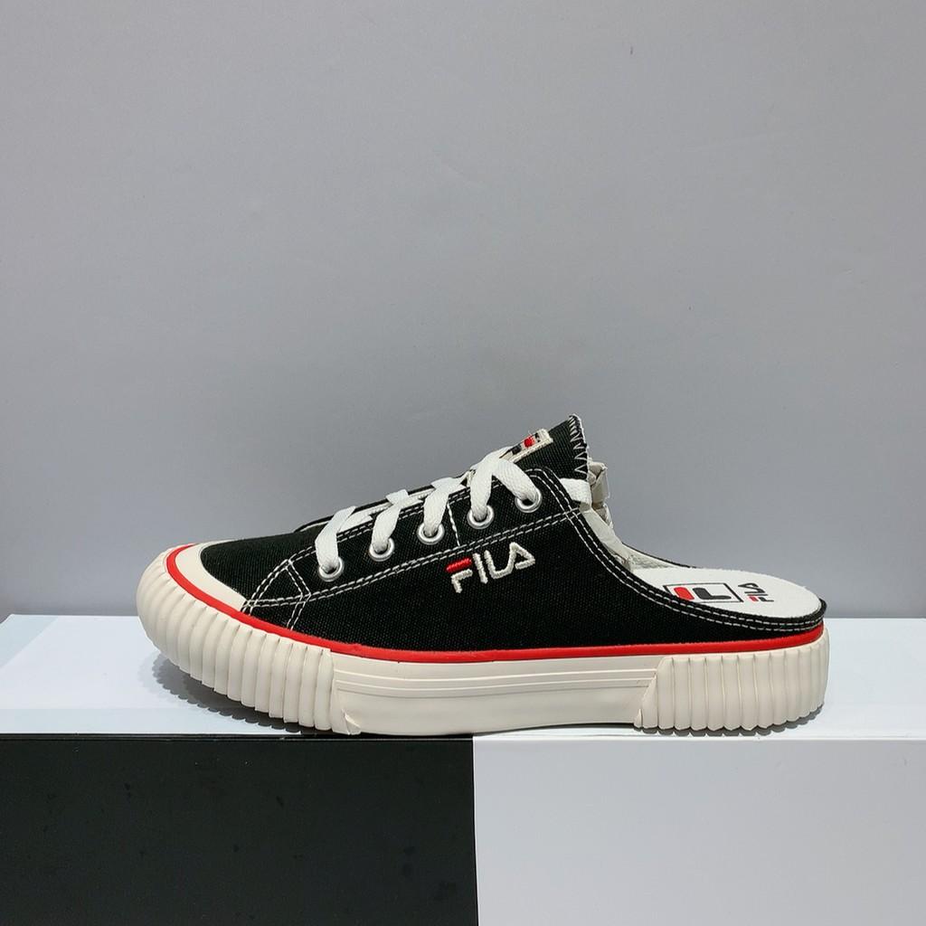 FILA BUMPER MULE 女生 黑色 韓版 帆布 懶人鞋 休閒鞋 4-C122U-978