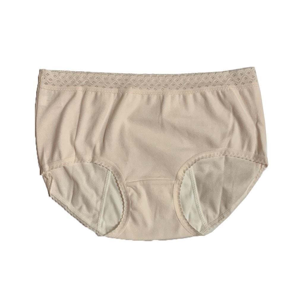 【MatchShop】台灣製素色長蕾絲中腰生理褲-膚