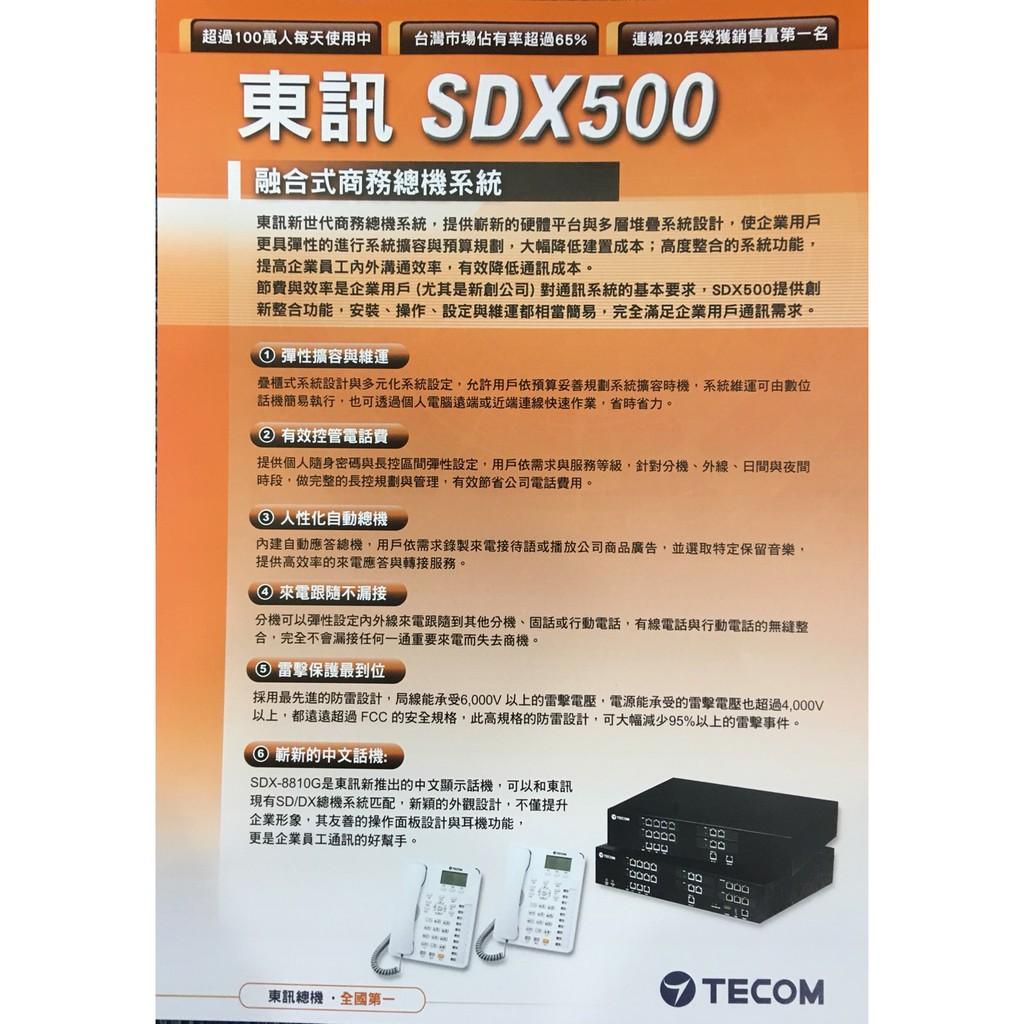 東訊TECOM SDX500(6外12內+4單) 融合式電話總機※含稅※