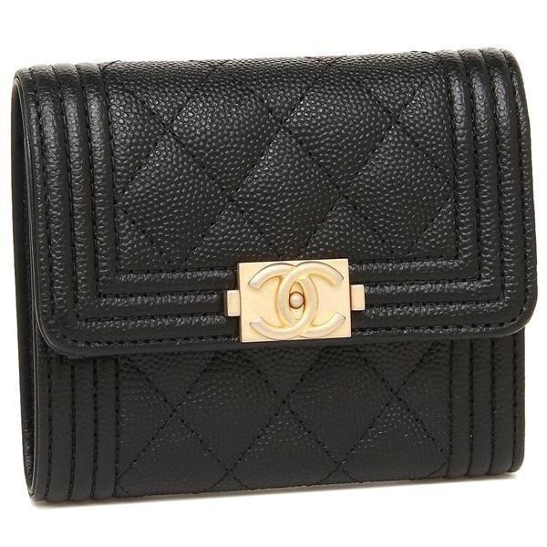 正版 Chanel 黑色 荔枝 霧金扣 MINI 三折 短夾 A84068