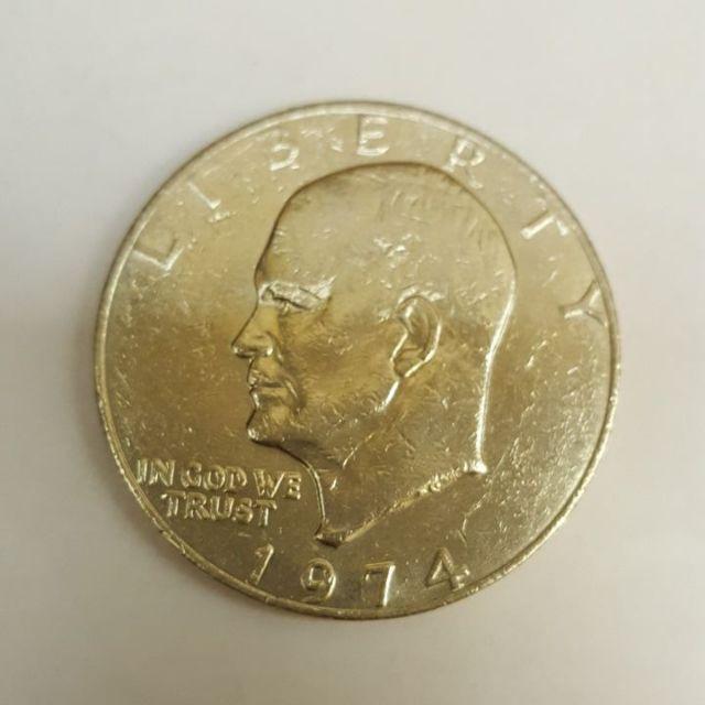 老錢幣大驚喜 美國1974年 艾森豪大型壹圓鎳合金硬幣 品相如圖(附保護盒)