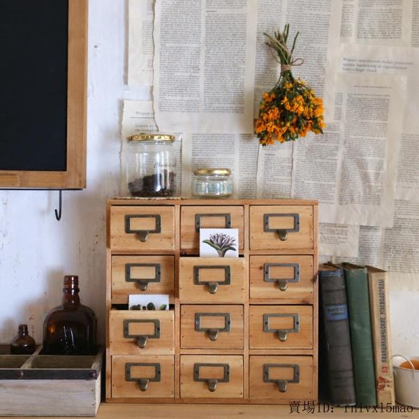 手工製zakka手賬膠帶收納盒桌面小抽屜櫃化妝品實木多抽屜整理盒