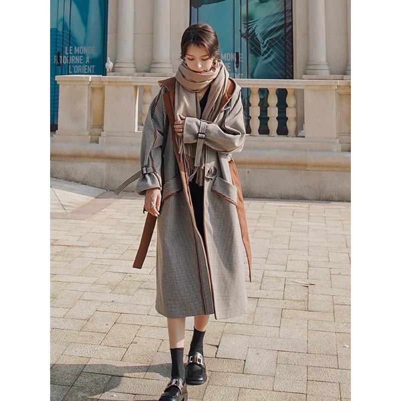 《限量款》千島格呢子牛角釦連帽大衣 秋冬時尚大衣