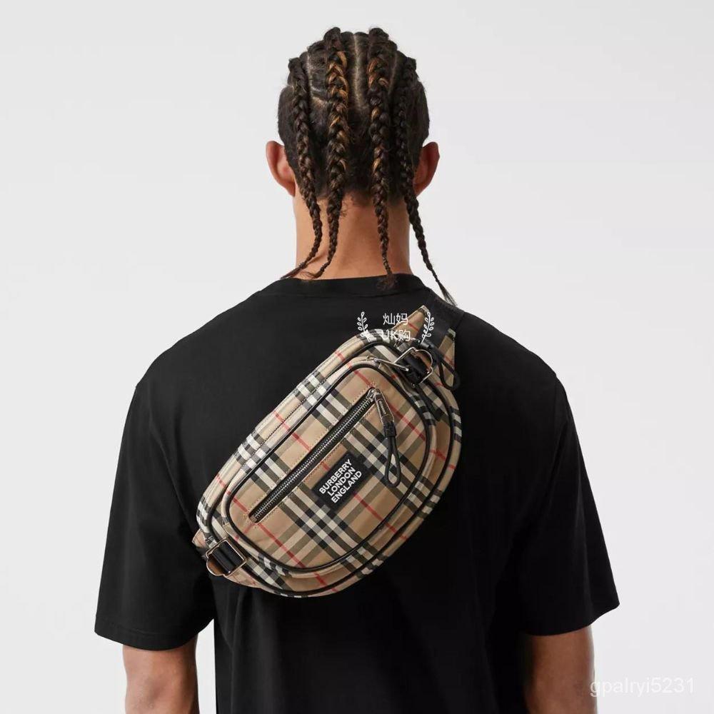 二手Burberry巴寶莉男女同款 格紋徽標 腰包斜挎包胸包 80230341 fKrF