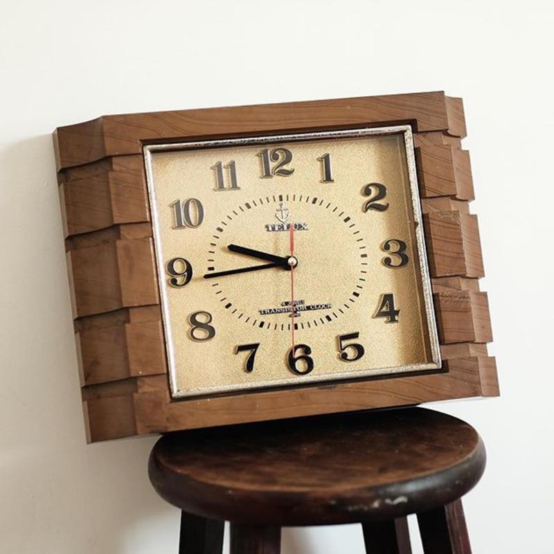 TELUX 老鐵力士 木紋厚框老鐘