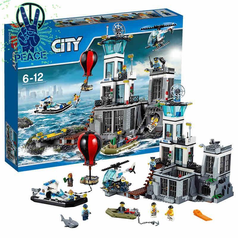 LEGO樂高積木城市系列警察警局特警海上監獄島60130拼裝玩具男孩