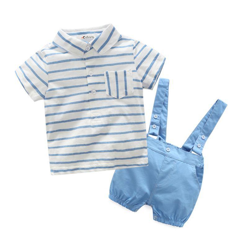 夏季男孩條紋翻領棉質上衣【IU貝嬰屋】