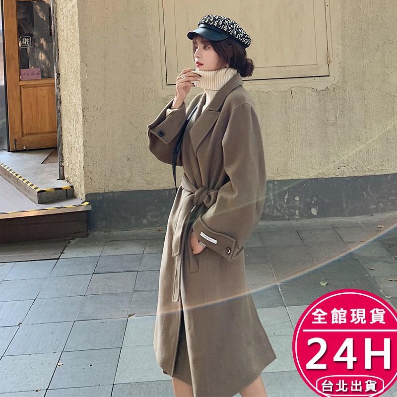 梨卡 - Hand Made【手工製】甜美加厚仿羊毛呢中長版繫帶雙排扣毛呢西裝防風外套風衣大衣AR143【現貨24H】
