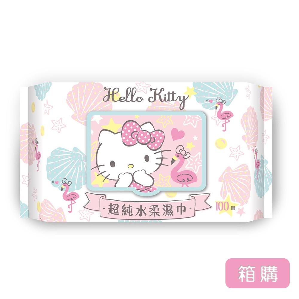 三麗鷗 Hello Kitty 凱蒂貓超純水有蓋柔濕巾/濕紙巾 100 抽 X 24 包 (箱購) 特選柔軟水針布