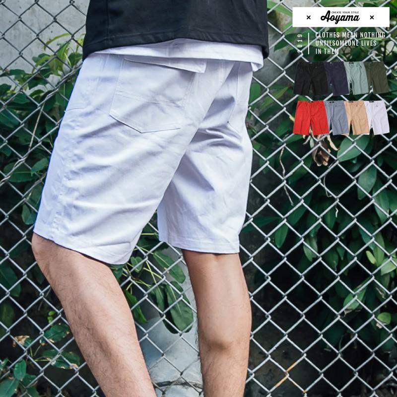 AOYAMA 夏日必備高磅舒適簡約素面工作短褲【A88926】工作褲 青山
