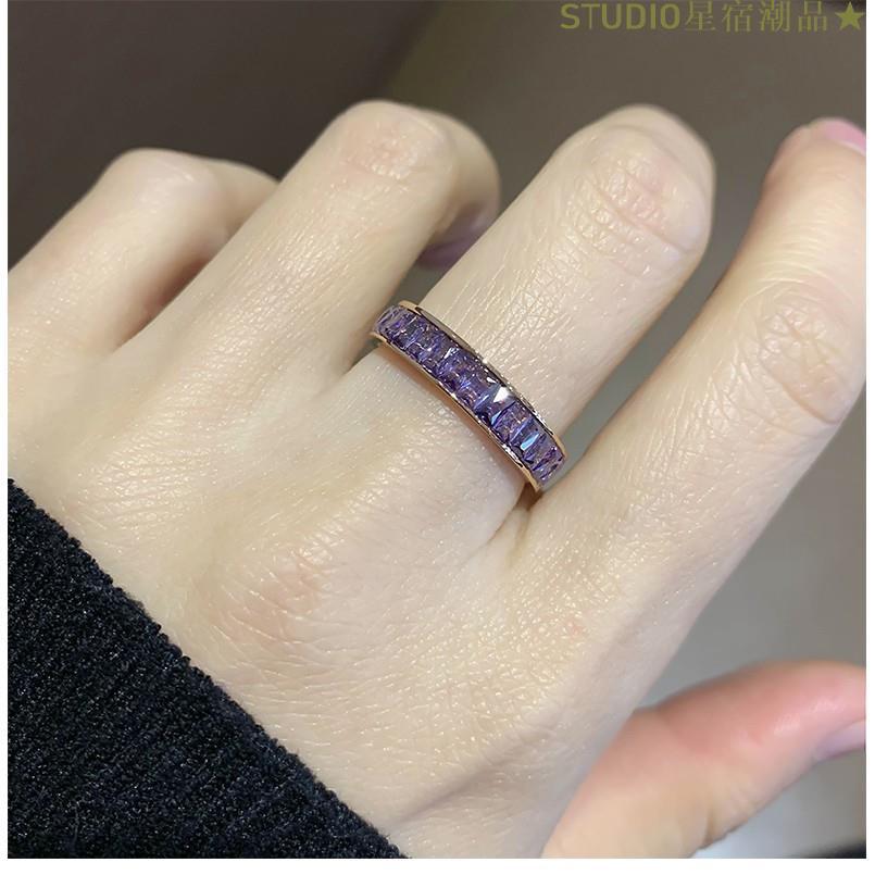 STUDIO星宿潮品★彩色水晶石閨蜜戒指 鈦鋼鍍18K玫瑰金食指戒指女