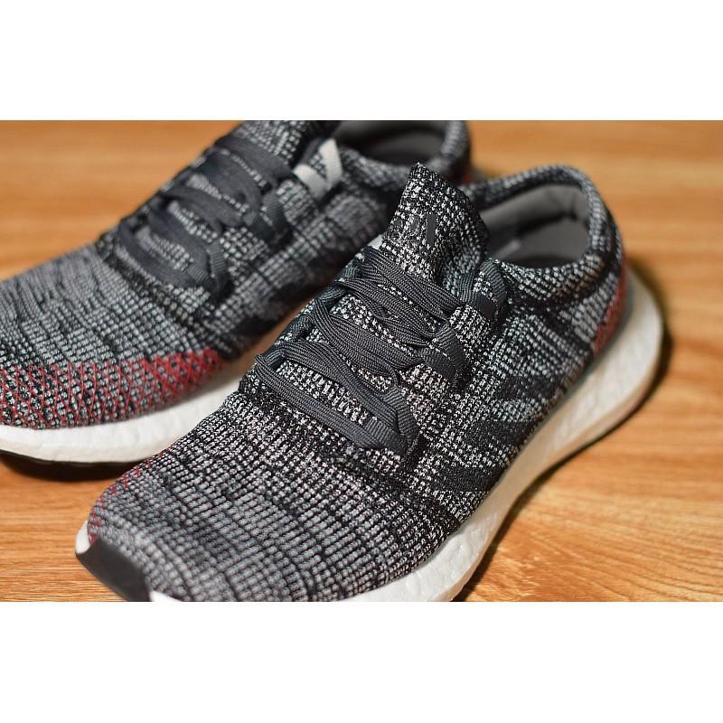 【九妹】 Adidas PureBOOST GO 百搭 編織 慢跑鞋 灰紅 男款