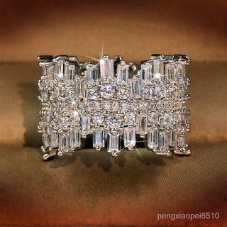 不規則微鑲嵌全圈鋯石戒指奢華女性珠寶戒指 878a