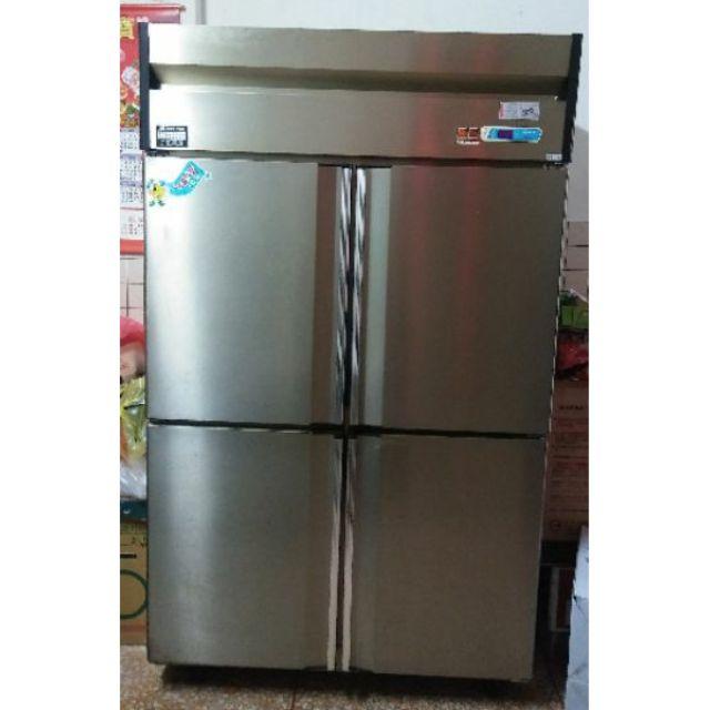 (二手)2009.8.26購買~國喬牌原裝進口營業用4尺四門大冰箱110V-上下層都是冷藏