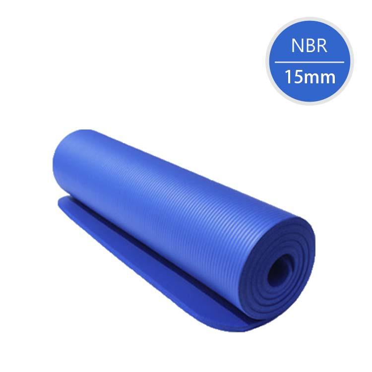 NBR加厚15mm瑜珈墊-藍色(附綁帶+背帶)