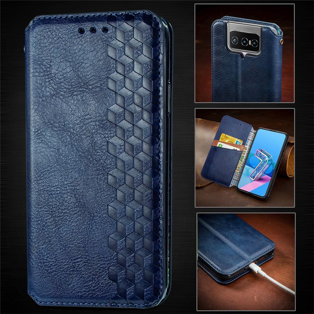 磁吸格子皮套Asus Zenfone 7 ZS670KS手機殼插卡支架錢包 掀蓋殼