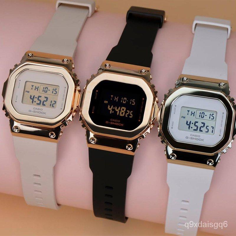 正版卡西歐復古金屬小方塊運動防水石英手錶女GM-S5600-1/S5600PG-4/1