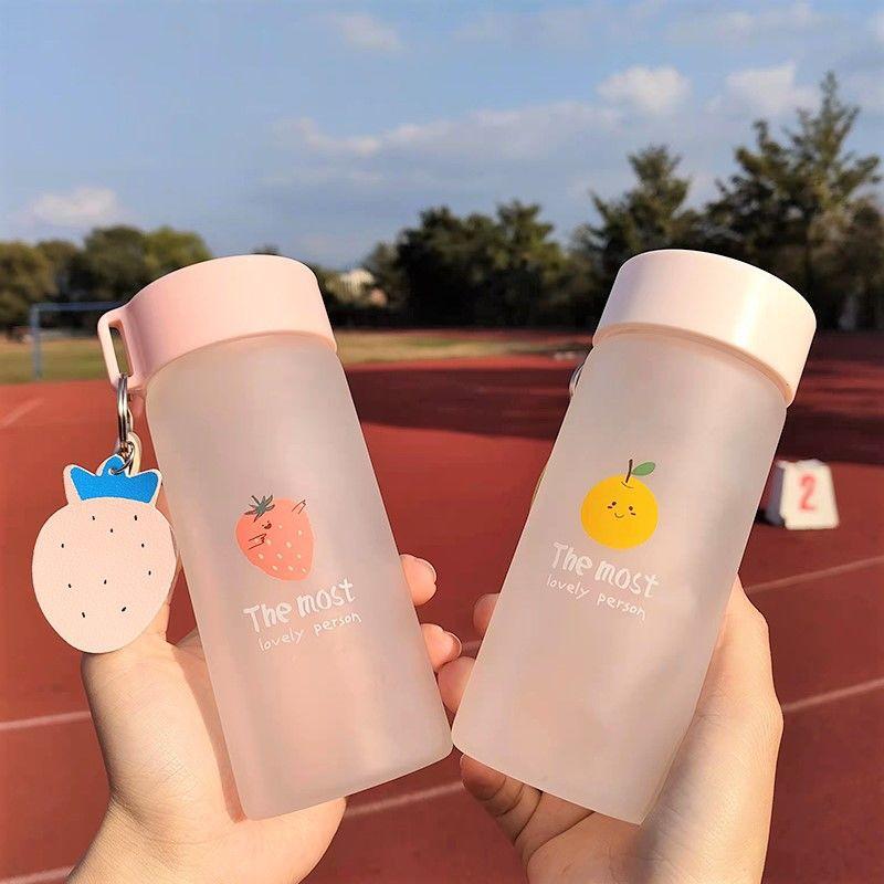 【台灣出貨】玻璃杯女學生簡約韓版便攜高顏值可愛ins風磨砂卡通清新水果杯子