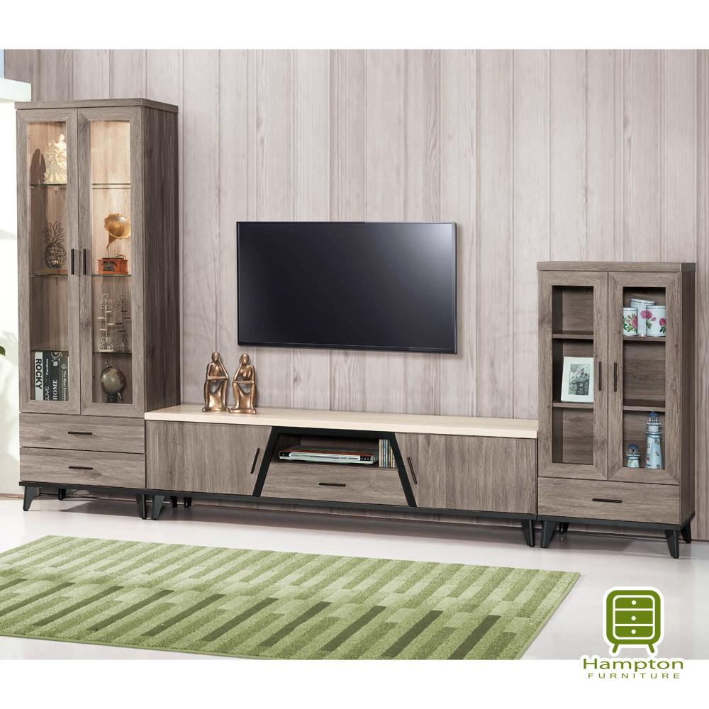 【Hampton 漢汀堡】倫納德系列古橡木10尺L型櫃組(電視櫃/展示櫃/收納櫃/櫃子)