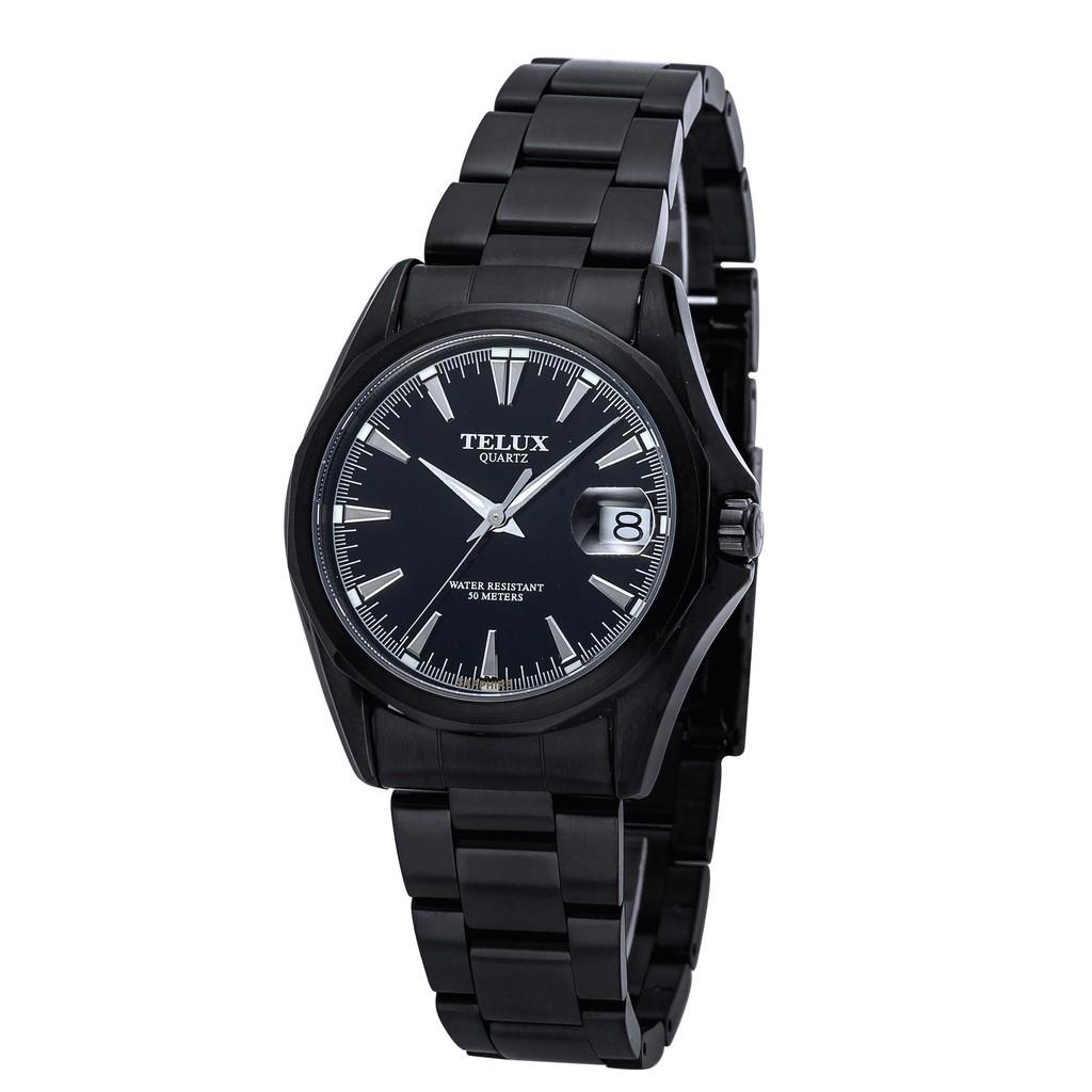 [缺貨中]台灣品牌手錶腕錶【TELUX鐵力士】復刻經典男腕錶手錶39MM台灣製造石英錶7000BK-BK11黑鋼帶黑面