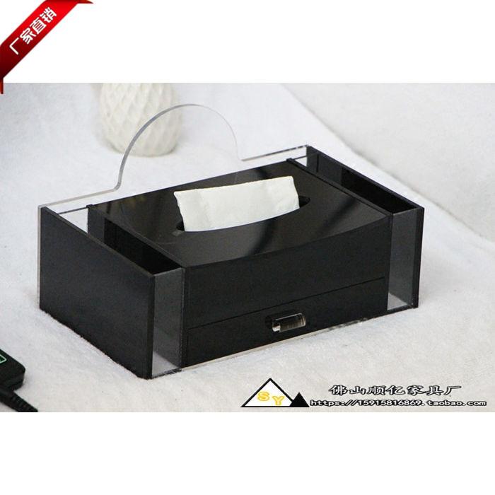 酒店新款簡約現代桑拿會所專用 多功能黑色亞克力 有機玻璃紙巾盒