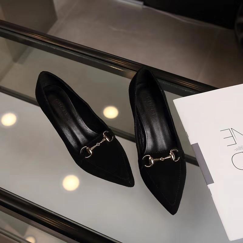 免運【名品居】古奇GUCCI古馳貓跟單鞋女20新款尖頭低跟鞋女鞋女生套腳舒適工作皮鞋35-40碼142
