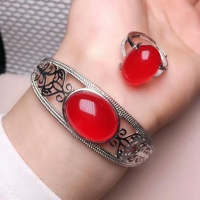 紅玉髓鑲嵌925銀 珠寶套裝 天然玉髓瑪瑙 開口手鐲/戒指 炫彩女款飾品