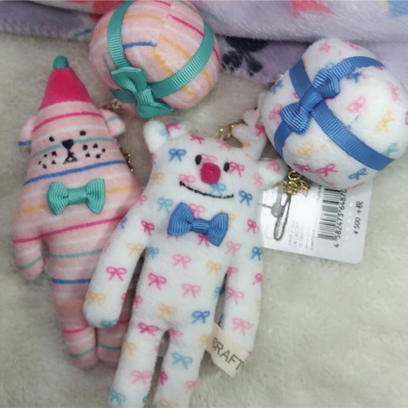 [CuteyR 現貨] 全新 craftholic 聖誕節條紋狗/耶誕麋鹿母子系列吊飾