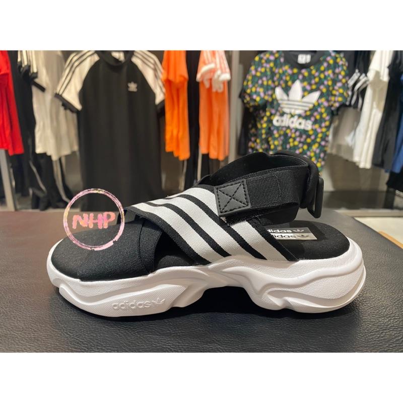 Adidas Magmur 三葉草 涼鞋 繃帶 套腳 軟底 黑白 休閒復古 運動涼拖鞋 EF5863