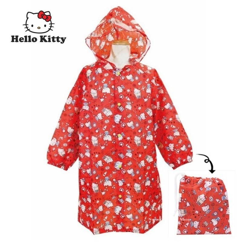 三麗鷗【 SAS日本限定 】 HELLO KITTY 凱蒂貓 生活版 兒童 雨衣 (110-120cm)