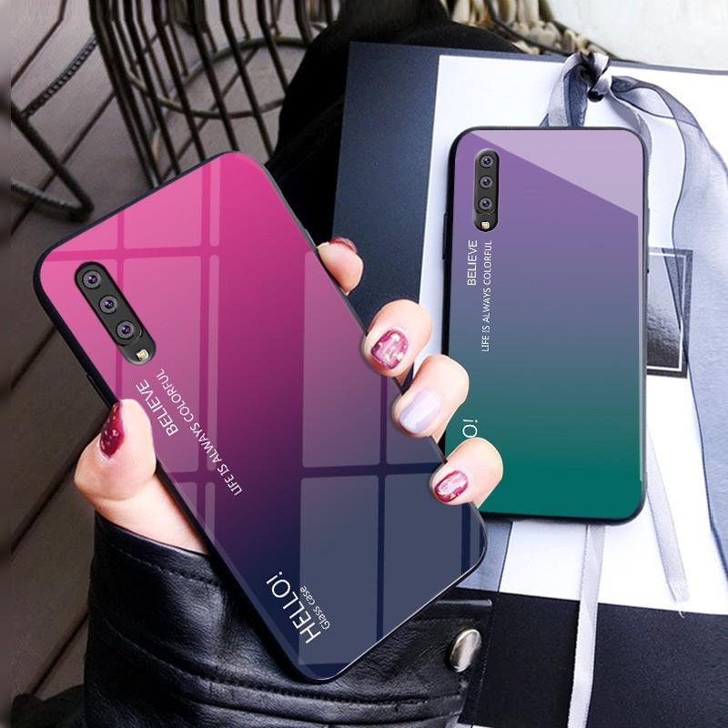 三星 Galaxy A10 A20 A30 A40 A50 A60 A70 A80 Case 漸變色鋼化玻璃硬殼後蓋外殼