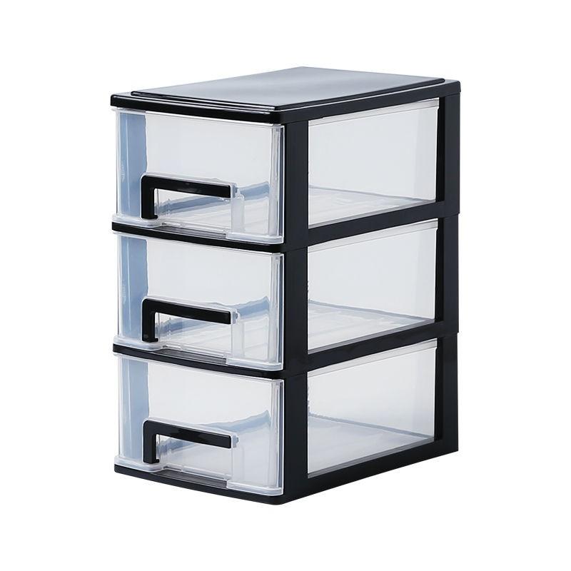 折疊收納箱 下掀式側開貨櫃箱 透明整理箱 折疊筐袋子  辦公桌面收納盒透明小抽屜式收納柜學生書桌上文具雜物整理儲物箱