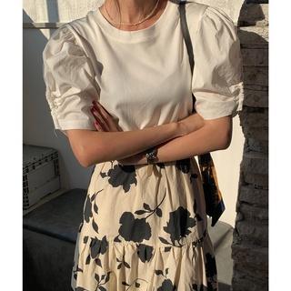 詮釋美 NEW OPEN學院風圓領緊身短袖素色上衣夏女套頭白襯衫 8582
