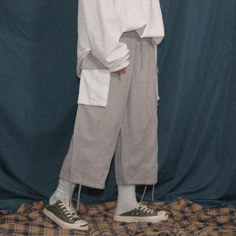 現貨 巨獸人 春秋季復古撞色口袋闊腿褲男寬松oversize休閑情侶工裝褲