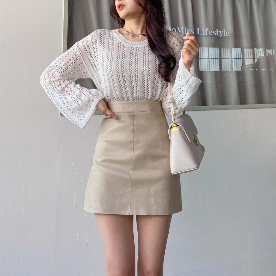 DoMiss小姐姐霧面A字皮裙-3色短裙 (現貨)