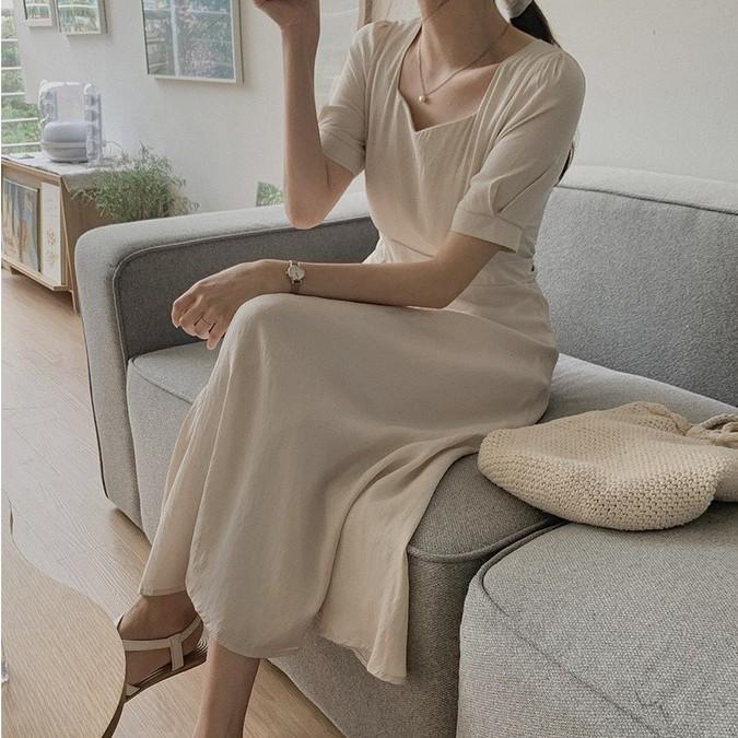 44772 新款韓版方領綁帶短袖休閒長款連衣裙洋裝