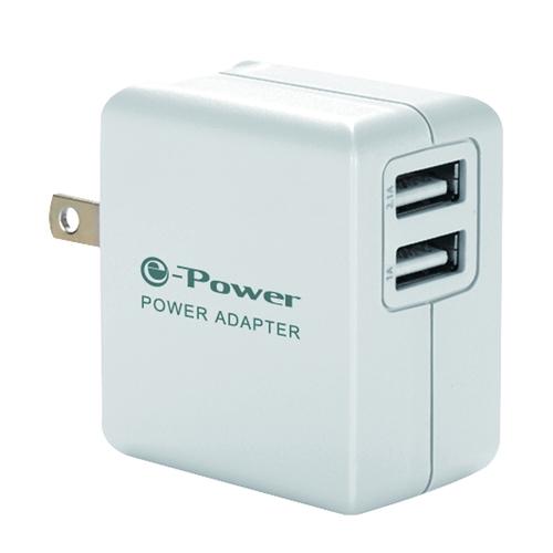 e-Power TC-E240 AC轉USB充電器 2埠 2孔 白色