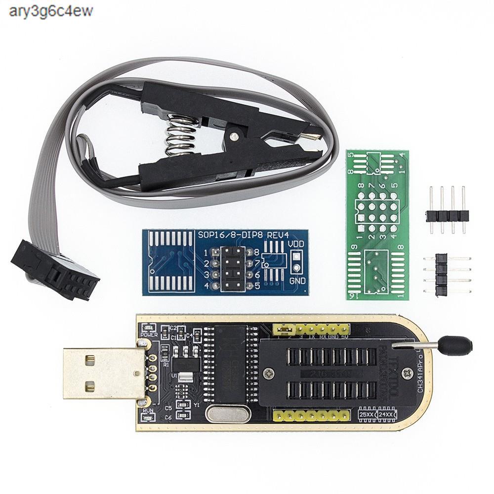 熱賣-CH341 編程器 USB 燒錄器 + SOP8 測試夾 燒錄夾